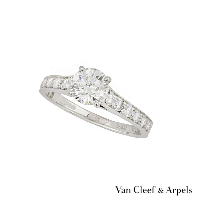 Van Cleef & Arpels Round Brilliant Cut Diamond Ring in Platinum 0.71ct D/VVS1